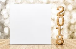 2018 happy New year glitter number and white card in perspective. Room with sparkling gold bokeh wall and wooden plank floor,leave space for adding text or Stock Images