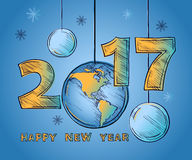 Happy New Year 2017 globe and Christmas balls. Outline color picture in the sketch  style. Design typography vector illustration on blue background Stock Photography