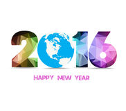 2016 happy new year globe and geometrical background Stock Photo