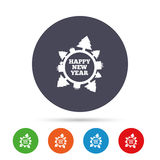 Happy new year globe sign icon. Gifts and trees. Stock Photos