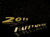 Happy New Year 2016 glod celebration background. Happy New Year 2016 gold celebration on black background Royalty Free Stock Photo