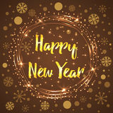 Happy New Year glowing background into round frame decorated snowflakes and stars. Happy New Year gold lettering element. Glowing background. Text into round vector illustration