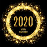 2020 Happy New Year glowing gold background. Vector illustration royalty free illustration