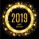 2019 Happy New Year glowing gold background. Vector illustration Stock Photos