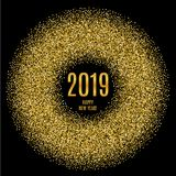 2019 Happy New Year glowing gold background. Vector illustration Stock Photography