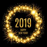 2019 Happy New Year glowing gold background. Vector illustration Royalty Free Stock Photo