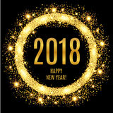 2018 Happy New Year glowing gold background. Vector illustration Stock Photography