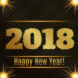 2018 Happy New Year glowing gold background. stock illustration