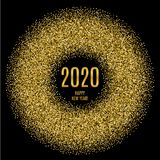 2020 Happy New Year glowing gold background. Vector illustration stock illustration