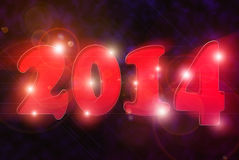 Happy new year 2014. Glowing red 2014 over black background Stock Photos