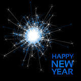 Happy New Year - glowing sparkler, lights on the black background, abstract wallpaper Stock Images