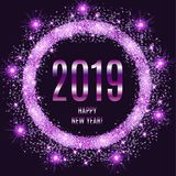 2019 Happy New Year glowing violet background. Vector illustration vector illustration