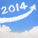 Happy new year 2014. Go Go Go! white cloud and blue sky on sunny day Stock Photography