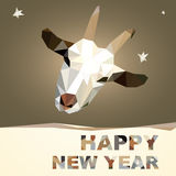 Happy New Year 2015 goat postcard. Happy New Year and Merry Christmas 2015 postcard design geometric polygonal Goat silhouette Stock Image