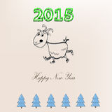 Happy New Year goat. Rides on skates stock illustration