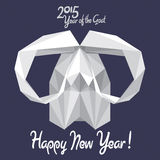 Happy New 2015 Year of the Goat! (+EPS). Vector design of white origami goat - symbol of Chinese New 2015 Year Stock Photos