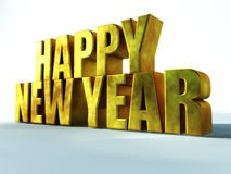 Happy New Year Gold. 3D render illustration with gold letters Stock Images