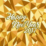 Happy new year 2017 gold abstract shapes. Illustration design background vector illustration