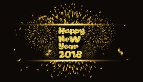 Happy new year 2018 gold background with fireworks.  Royalty Free Stock Photos