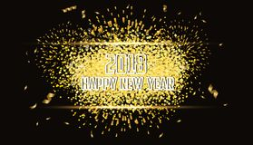 Happy new year 2018 gold background with fireworks.  Royalty Free Stock Photography