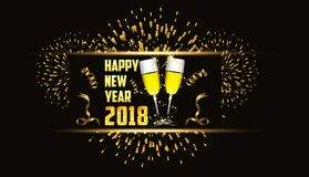 Happy new year 2018 gold background with fireworks and glasses.  Royalty Free Stock Photos
