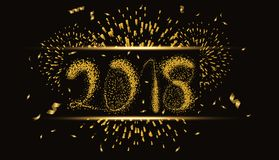 Happy new year 2018 gold background with fireworks.  Stock Photography