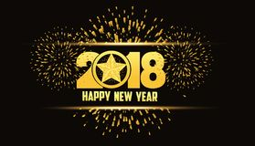 Happy new year 2018 gold background with fireworks and star.  Stock Photos