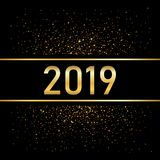 Happy New Year gold background. Golden number isolated on black. Glitter, light sparkle, shimmer, shine confetti. Design. For Christmas greeting card, holiday vector illustration