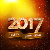 Happy new year 2017 gold background. New Year greetings card. Vector illustration stock illustration