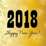 2018 happy new year on gold fireworks background Royalty Free Stock Images