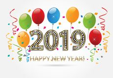 2019 Happy new year 2019 background vector design. 2019 party. Happy new year 2019 gold with balloons and confetti image background vector vector illustration