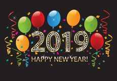 2019 Happy new year 2019 party balloons background vector. Happy new year 2019 gold background vector with vibrant and vivid colors of balloons and confetti for vector illustration