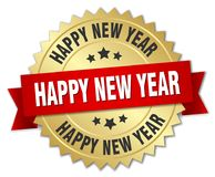 Happy new year. Gold badge with red ribbon stock illustration