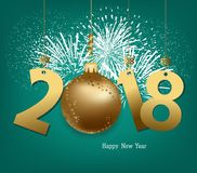 Happy New Year 2018 with gold ball and fireworks.  Royalty Free Stock Image