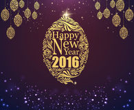 Happy new year and gold ball purple classic background. Happy new year and gold ball purple classic background stock illustration