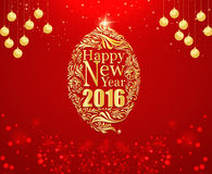 Happy new year and gold ball red background. Stock Photo