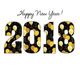 Happy new year 2018 with gold balloon pattern Stock Photography
