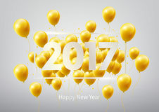 Happy New Year 2017 with gold balloons, vector illustration Royalty Free Stock Photos