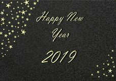 Happy New Year 2019 gold with black Background and Stars. Happy new year 2019 gold with black Background stars stock illustration