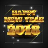 Happy New Year 2018 Gold with Black Background - Vector Illustration. Vector Illustration of Happy New Year 2018 Gold with Black Background Stock Images