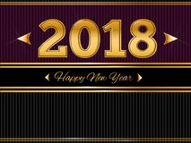 Happy New Year 2018  Gold and Black greeting card Stock Photo