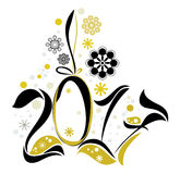 Happy New Year 2017. Gold black numbers and snowflakes. Happy New Year 2017. Gold black numbers Stock Image