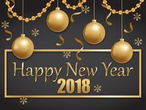 Happy new year 2018 gold and black. Vector illustration of happy new year 2018 gold and black collors place for text christmas balls Stock Photos