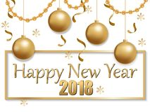 Happy new year 2018 gold and black Stock Photo