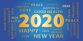 2020 Happy New Year gold and blue banner. royalty free stock photography