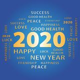 2020 Happy New Year gold and blue greeting card. royalty free stock photos
