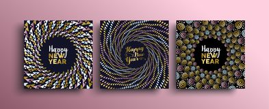 Happy New Year gold boho greeting card set. New Year gold template set with tribal boho elements in hand drawn style. Ideal for greeting card, poster or web royalty free illustration