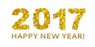 Happy New Year 2017 in gold bokeh abstract background. For use as a decorative background and new year 2017 card Royalty Free Stock Images