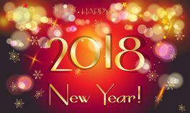 2018 Happy New Year gold bokeh greeting card Royalty Free Stock Image