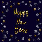 2016 Happy New Year gold card, greeting, decoration, Royalty Free Stock Photos